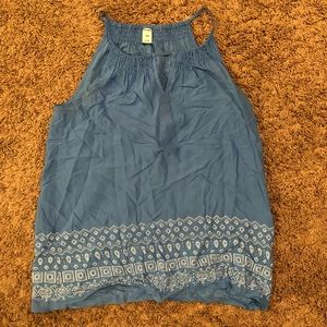 Old Navy Blue with White Patterned Tank Top
